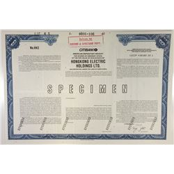 Hongkong Electric Holdings Ltd., 1987 Specimen Stock Certificate