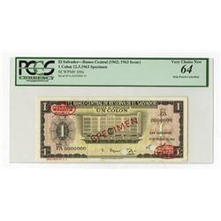 Banco Central de Reserva De El Salvador, 1963 Specimen Banknote.