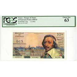 """Banque De France, 1962 """"Nouveaux Francs"""" Issued Banknote."""