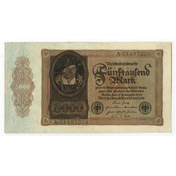 Reichsbanknote. 1922. Issued Note.