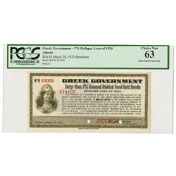 Greek Government, 7% Refugee Loan of 1924 (1932) Specimen Interest Coupon or Warrant.