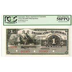 Banco Americano de Guatemala, ND (1895-1920) Specimen Banknote.