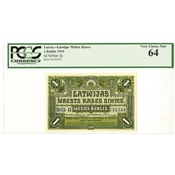 Latwijas Walsts Kases, 1919, 1 Rublis issued Banknote.