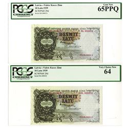Valsts Kases Zime, 1939, Sequential Banknote Pair.