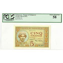 Banque de Madagascar et des Comores, ND (ca.1937) Issued Banknote.