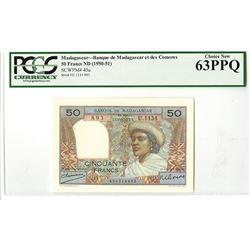 Banque de Madagascar et des Comores, ND (1950-51) Issued Banknote.