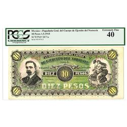 Pagaqduria Gral. Del Cuerpo de Ejercito Del Noroeste, 1915 Issued Banknote.