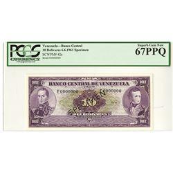 Banco Central De Venezuela, Caracas, 1961 Specimen Banknote.