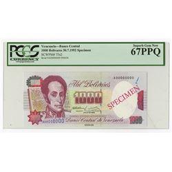 Banco Central De Venezuela, Caracas, 1992 Specimen Banknote.