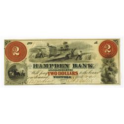 Massachusetts, Hampden Bank, 1861 Issued Obsolete Banknote.