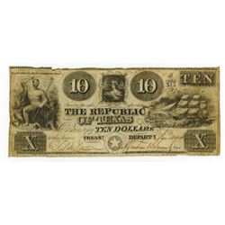 Republic of Texas, 1840, $10 Obsolete Banknote.