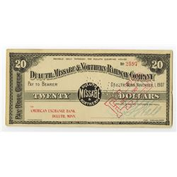 Duluth, Missabe & Northern Railway 1907 Depression Scrip.
