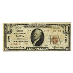 First National Bank of Tampa, Florida, 1929 TII, Ch#3497 National Banknote.