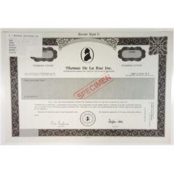 Thomas De La Rue Inc., 1980s Specimen Certificate