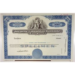 Security-Columbian Banknote Co., 1988 Specimen Stock Certificate Mock Up