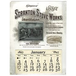 T.A. Bradley Calendar. Scranton Stove Works. 1897 full year pad.