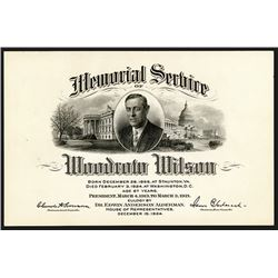Woodrow Wilson 1924 Memorial Service Card by BEP.