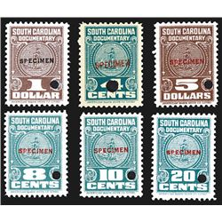 South Carolina Documentary Stamp Specimens.