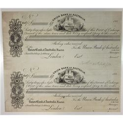 Union Bank of Australia 1880s Uncut Sheet of 2 Exchange Certificates