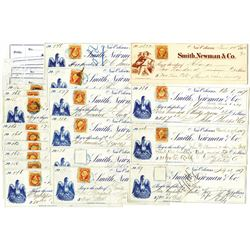 Smith, Newman & Co. Check assortment ca. 1866 to 1872.