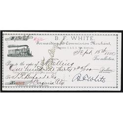 B.F.White, Terminus U. & N.R. W'y, Montana Territory Railroad Draft.