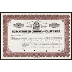 Durant Motor Co. of California Specimen Stock.