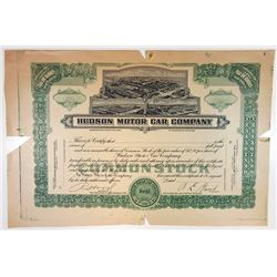 MI. Hudson Motor Car Co., 1920-30 Proof Stock Certificate <100 Shrs XF HBNC
