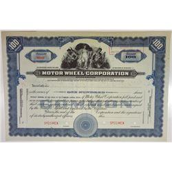 Motor Wheel Corp., ca.1930-1940 Specimen Stock Certificate