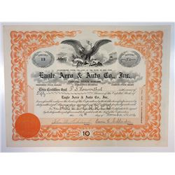 Eagle Aero & Auto Co. Inc., 1916 I/U Stock Certificate