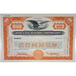 Hercules Motors Corp., ca.1940-1950 Specimen Stock Certificate