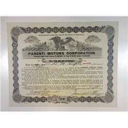 Parenti Motors Corp, 1920 15 Shrs I/U Common Capital Stock Certificate, VF Goes