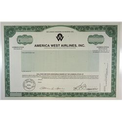 America West Airlines, Inc., 1986 Specimen Stock Certificate