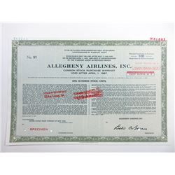 "Allegheny Airlines, Inc with Overprint ""Name of this company is USAir Group"", 1968 Specimen Stock Ce"