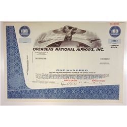 Overseas National Airways, Inc., 1960s Proof Specimen Stock Certificate