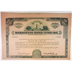 Manhattan Bond Fund, Inc 1939 Proof Stock Certificate.