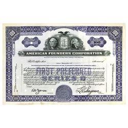 American Founders Corp., ca.1930-1940 Specimen Stock Certificate