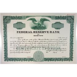 Federal Reserve Bank of Boston, 1976 Specimen Stock Certificate