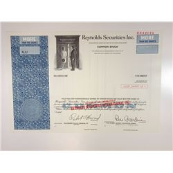 Reynolds Securities Inc., 1976 Specimen Stock Certificate