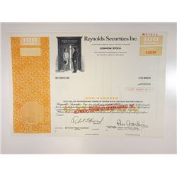 Reynolds Securities Inc., 1977 Specimen Stock Certificate