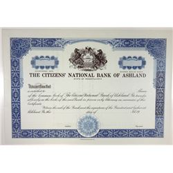 Citizens' National Bank of Ashland, 1969 Specimen Stock Certificate