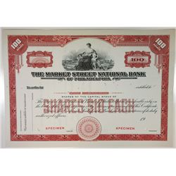 Market Street National Bank of Philadelphia, 1940s Specimen Stock Certificate