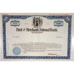 First & Merchants National Bank, ca1950-1960 Specimen Stock Certificate