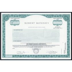 Robert Mondavi Corp. ca. 1980s Specimen Stock Certificate.