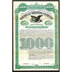 American Brewing Co., 1895 Specimen Bond.