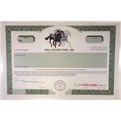 Hollywood Park, Inc., 1981 Specimen Stock Certificate