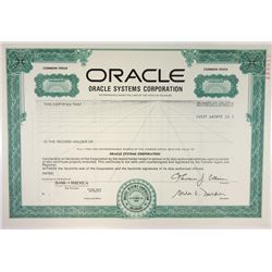Oracle Systems Corp., 1989 Specimen Stock Certificate