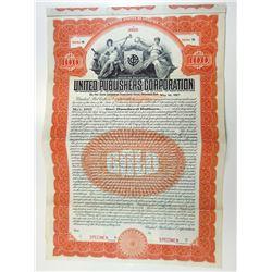 United Publishers Corp., 1911 Specimen Bond