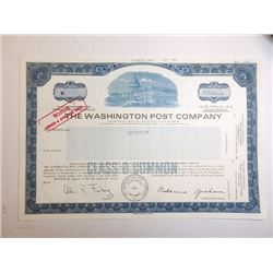 Washington Post Co., 1984 Specimen Stock Certificate