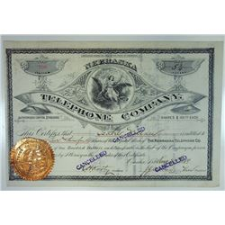 Nebraska Telephone Co., 1889 Cancelled Stock Certificate