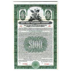 New York Telephone Co., 1919 Specimen Bond